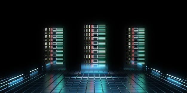 3d концепция будущего центра обработки данных с неоновыми огнями. 3d иллюстрация