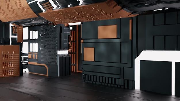 3d future machine technology background with dark color  premium image