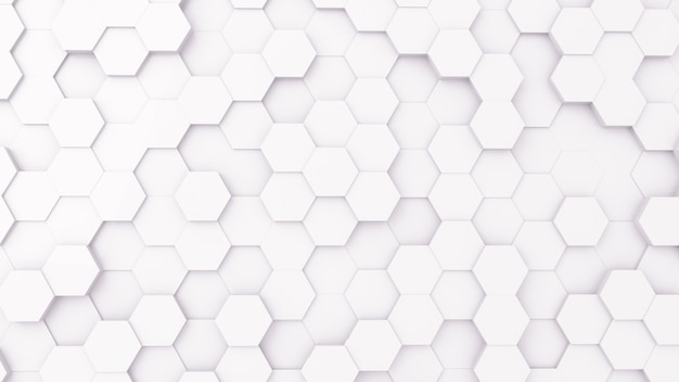 3d futursitics rendering white abstract honeycomb random surface level background with lighting and shadow. top view