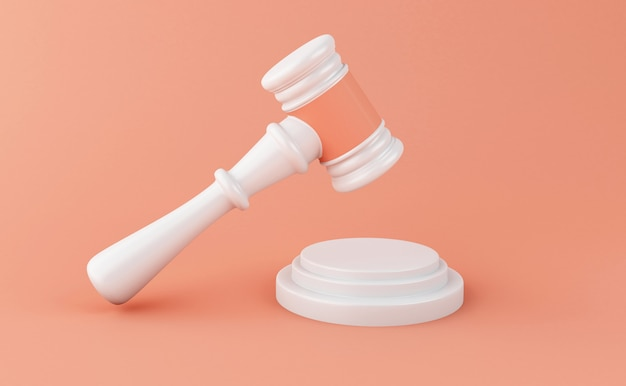3d gavel on white background. law concept.