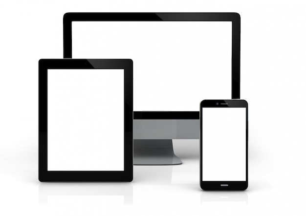 3d generated computer, tablet and smartphone