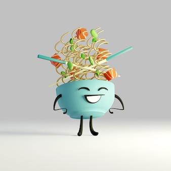 3d generated cute pic of a bowl of noodles cartoon kawaii ramen bowl