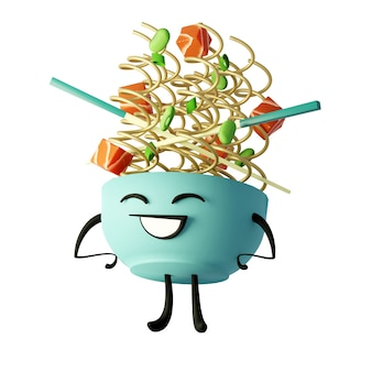 3d generated cute pic of a bowl of noodles on a white background cartoon kawaii ramen bowl