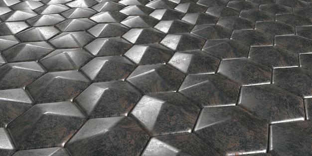 3d幾何学的な抽象的な六角形の壁紙の背景