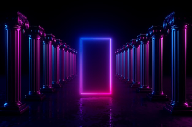 3d geometric background with columns and glowing neon lights. blank rectangular frame with copy space.