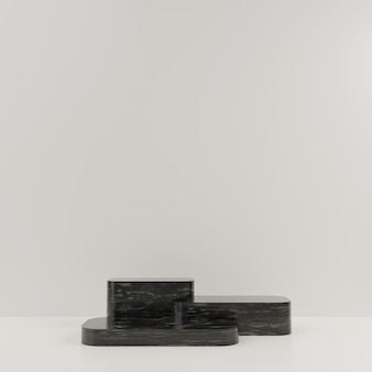 3d geometric black marble podium for product placement