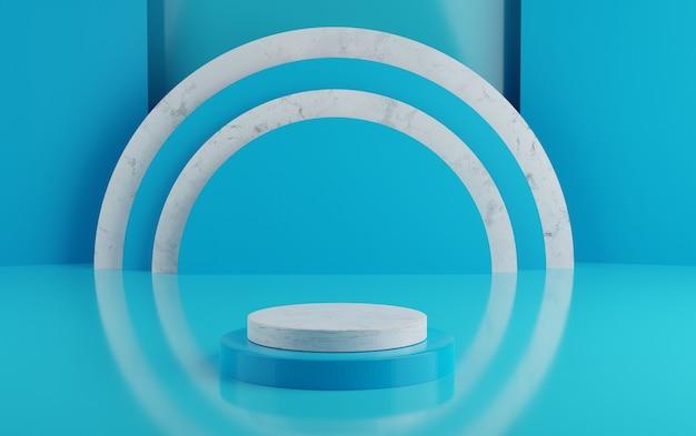 제품 배치를위한 3d 기하학적 파란색 연단