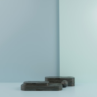 3d geometric blue podium for product placement