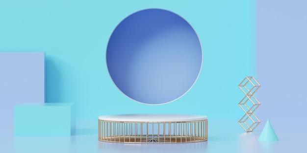 3d геометрический голубой подиум для размещения продукта на круглом фоне