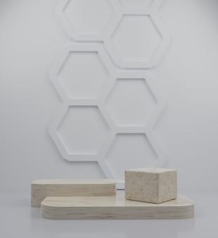 제품 배치를 위한 3d 기하학적 대리석 연단 및 벌집 배경