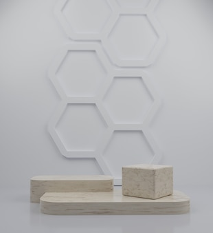 3d geometric marble podium and honeycomb background for product placement