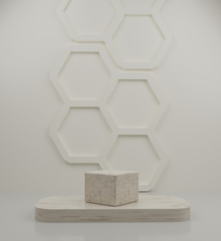 3d geometric marble podium and soft honeycomb background for product placement