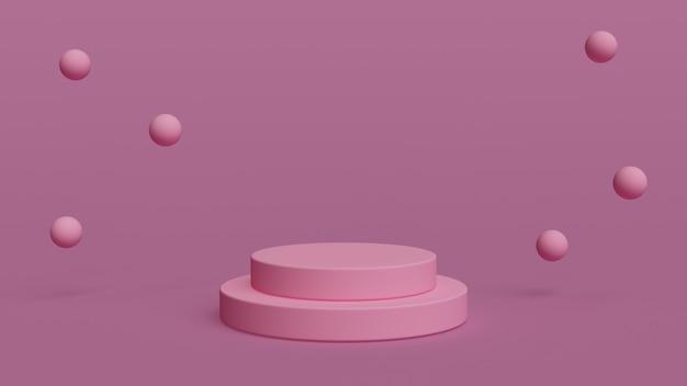 제품 배치에 대한 분홍색 배경이 있는 3d 기하학적 핑 연단 모양 3d 렌더링