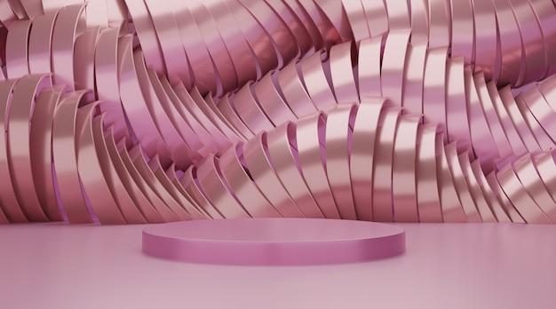 製品の表示のための3 dの幾何学的なピンクの表彰台シーン。