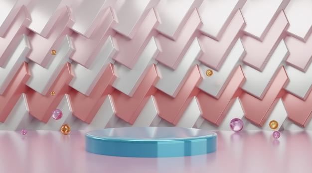 製品の表示のための3 dの幾何学的な表彰台のシーン。