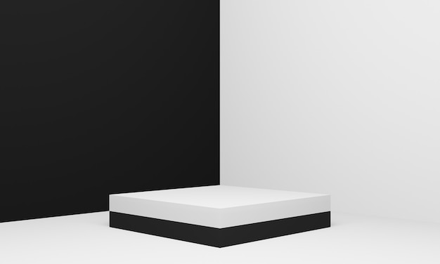 3d geometric product stand black and white corner background