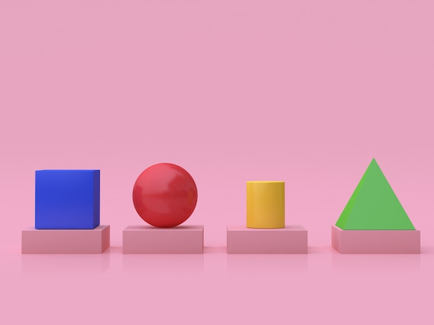 3d geometric shape cube sphere cylinder pyramid floor reflection pink background 3d render