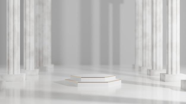 3d 기하학적 모양은 최소한의 장면 연단 쇼케이스, 상점 전면, 디스플레이 모형 케이스 및 빈 공간이 있는 코스메틱 프리미엄 제품 프레젠테이션 배치를 위한 무대에서 렌더링됩니다.