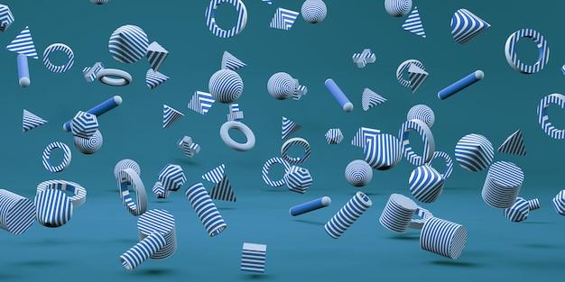 3d幾何学的形状楽しくてカラフルな背景3dイラスト