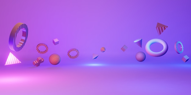 3d geometric shapes fun and colorful backgrounds 3d illustration