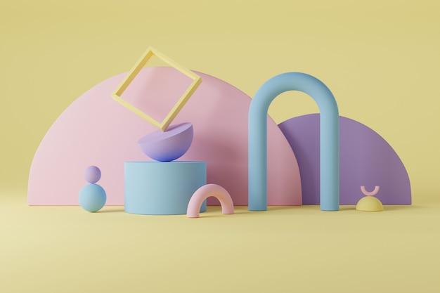 파스텔 색상의 3d 도형