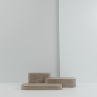 3d geometric white and wood podium for product placement