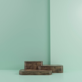 3d geometric with wood podium for product placement