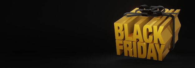 3d визуализация концепции подарочной коробки для продажи в черную пятницу с золотыми буквами, перевязанными черными лентами