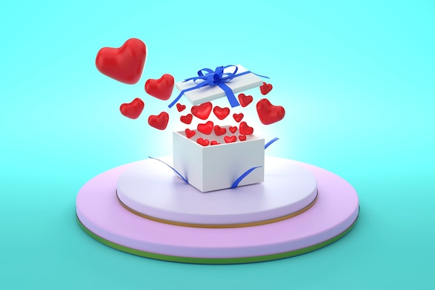 3d a gift box with an open lid located on the podium and flying hearts concept of love and giving
