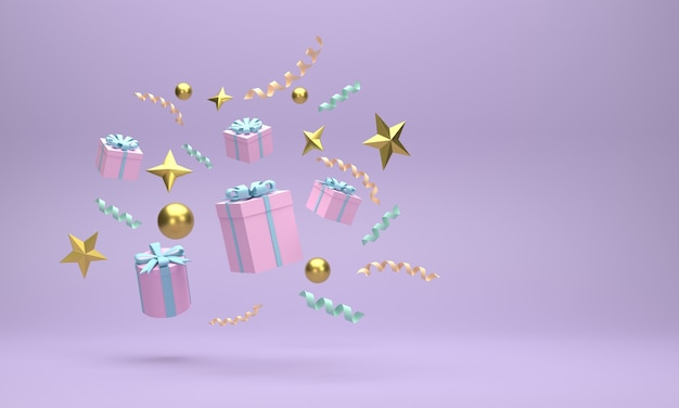 3d. gift boxes and golden balls christmas celebrations on a blue background.