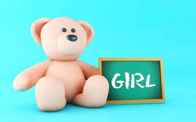 3d girl written on blackboard