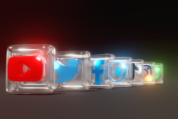 3d glass and glossy social media logos with dark background and back row position