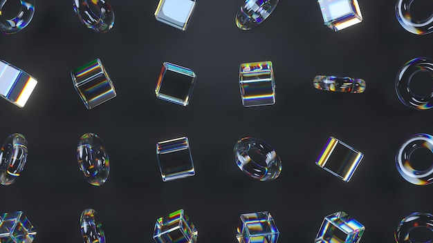 3d glass rotating cubes and torus with dispersion effect