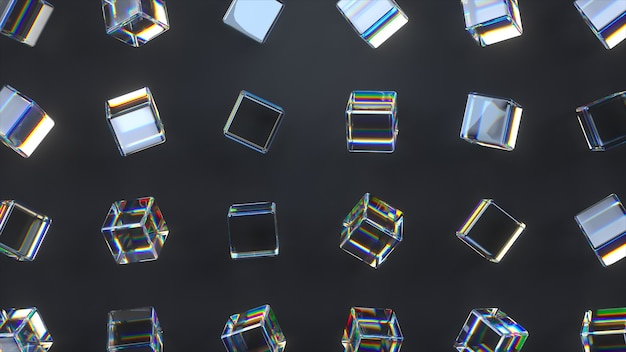 3d glass rotating cubes with dispersion effect