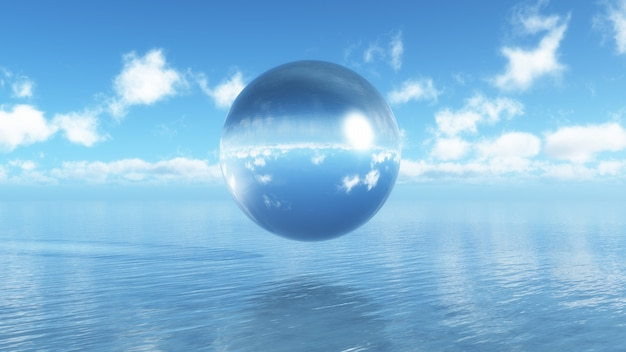 3d glass sphere floating over a blue ocean