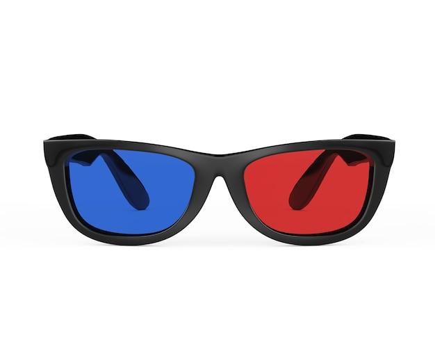 흰색 바탕에 복고 스타일의 3d 안경. 3d 렌더링