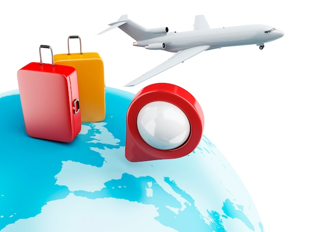 3d globe with map pointer, airplane and suitcase.