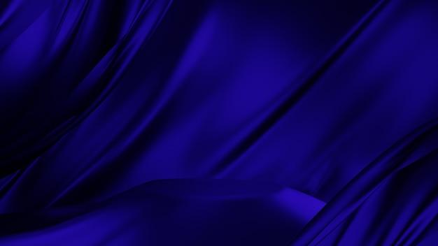 3d光沢のある青い布の表彰台