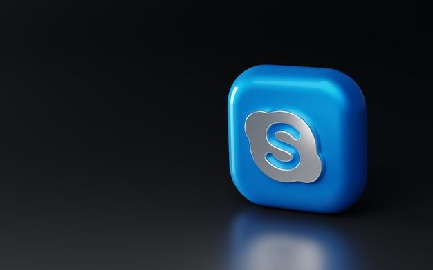 3d 광택 금속 스카이프 로고