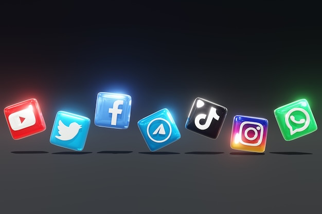 暗い背景と左右の位置を持つ3d光沢のあるソーシャルメディアのロゴ