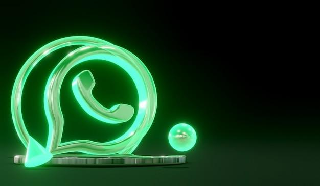 어두운 배경으로 연단에 3d 빛나는 유리 whatsapp 소셜 미디어 로고