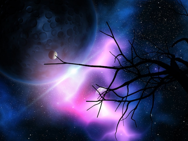 3d gnarly tree against night sky with planets