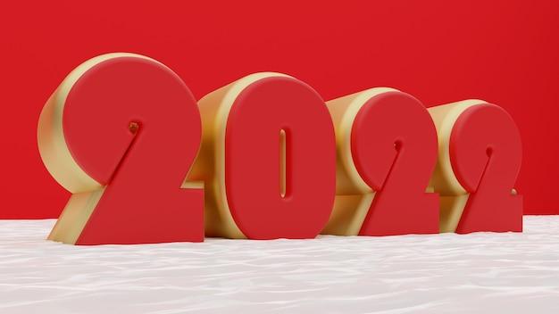 빨간색 배경의 3d 골드 2022