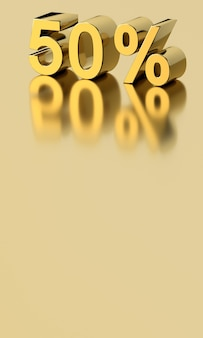 3d gold 50% numbers with reflection on beige