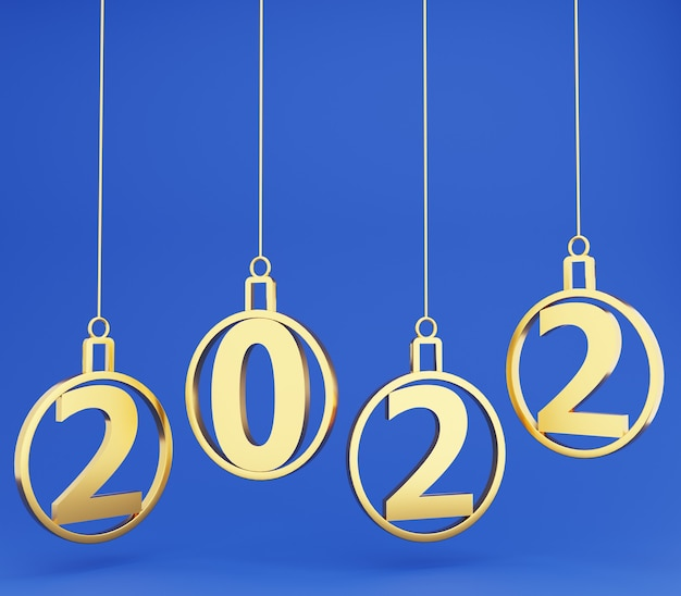 3d gold ball new year floating on blue background