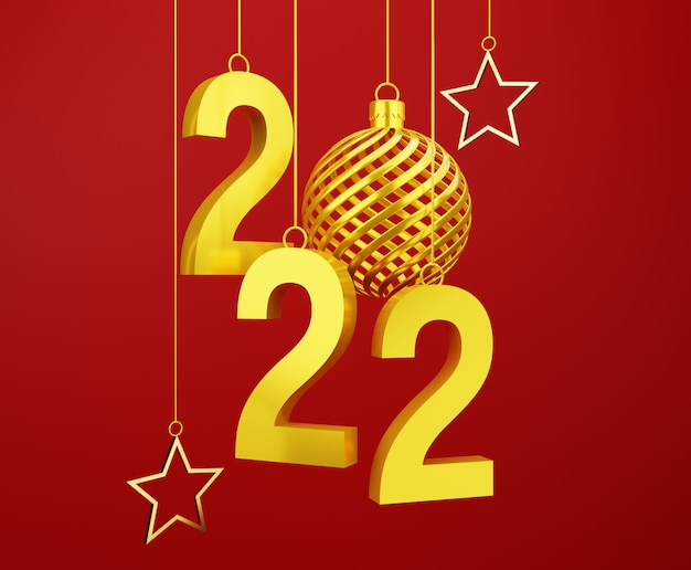3d gold ball new year floating on red background
