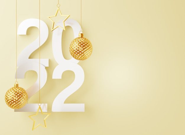 3d gold ball new year floating on white background
