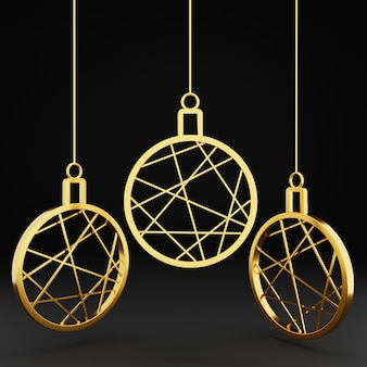 3d gold christmas ball ornament on black background
