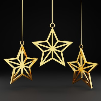 3d gold christmas star ornament on black background