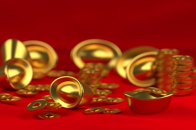 3d gold and coin